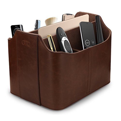 OTTO Leather Remote Control Organizer and Caddy with Tablet Slot (OTTO171)