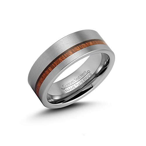 LerchPhi Mens 8mm Silver Tungsten Carbide Ring Outside Matte Brushed with Wooden Texture Inlay Free Personalized Engrave Supported Comfort Fit Wedding Band