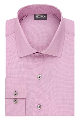 (Kenneth Cole Reaction Men's Technicole Slim Fit Stretch Solid Spread Collar Dress Shirt , Pink, 15.5