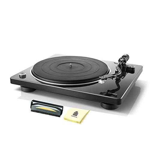 Denon DP400 Compact Hi-Fi Turntable w/ Built-in Phono Equalizer & Speed Auto Sensor (Includes MM Cartridge) with Anti-Static Record Cleaner Brush and Zorro Sounds Turntable Cleaning Cloth