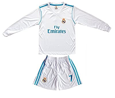GamesDur 2019/2020 Cristiano Ronaldo #7 Home Long Sleeve Soccer Kids Jersey & Short Set Youth Sizes