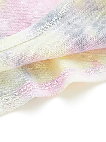 Romwe Women's Summer Tie Dye Short Sleeve Tie Front Knot Casual Loose Fit Tee T-Shirt