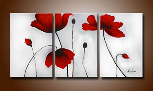 Sanbay Art 100% Hand Painted Oil Paintings on Canvas Hot Sale Beautiful Red Lotus Flowers Framed Inside 3-pieces Set Artwork for Living Room Kitchen and Home Wall Decoration
