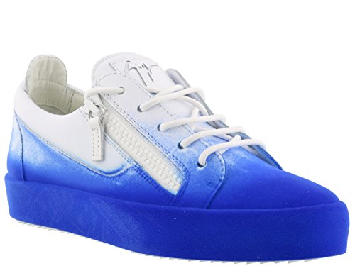 Giuseppe Zanotti Design Homme RM80010003 Blanc/Bleu Cuir Baskets