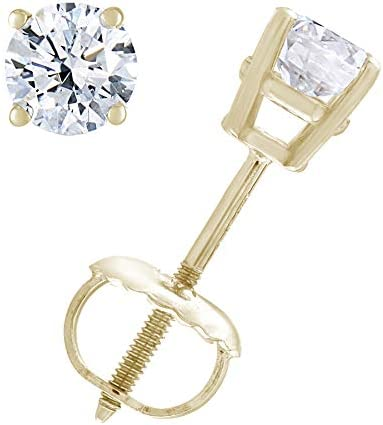 1/3 to two cttw Diamond Stud Earrings 14K White Gold with Screw Backs
