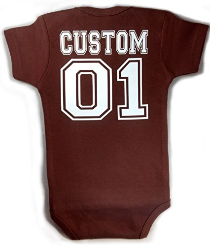 Baby Football with Custom Personalized Back Lettering Bodysuit Outfit Brown Unisex (6-12 Months (Medium))
