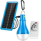 Flyhoom Solar Light Bulb Camping Lights Dimmable - 220LM 1800mA Outdoor Rechargeable lamp with Remote Controller Timer for Outage Tent Fishing Hurricane Chicken coop,Blue,FNSL3
