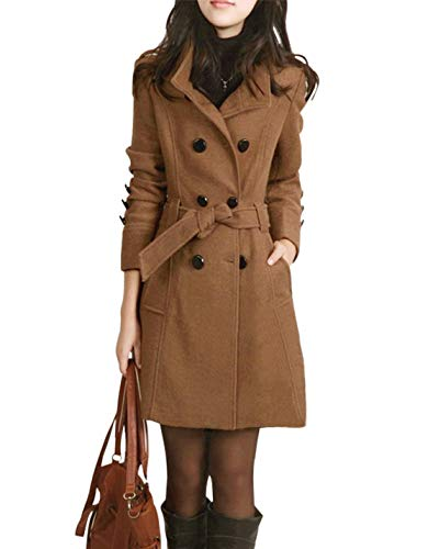 Jenkoon Women's Winter Double Breasted Stand Collar Button Pea Coat Trench Coat with Belt (Camel, Small) Double Breasted Walking Coat