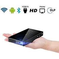 Aolvo Mini Smart Android Pico Projector with HDMI Input-Vertical Keystone Correction - Miracast and Airplay Slim Wireless HD Portable Pocket DLP Home Cinema Theater Projector Touch Panel --Black