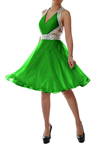 MACloth Elegant Short Prom Homecoming Dress Halter V neck Party ...