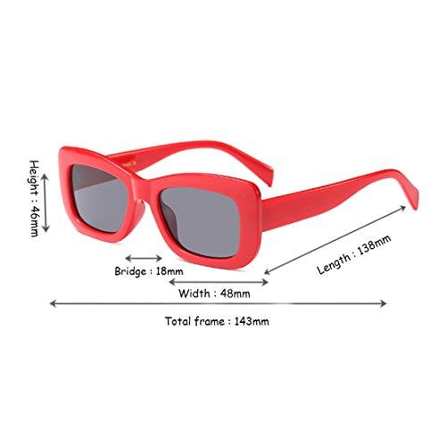 Moda sol retros vintage Gafas marco de de leopardo sol Inlefen Rojo cuadradas rectangulares Gris Gafas de RpAqY
