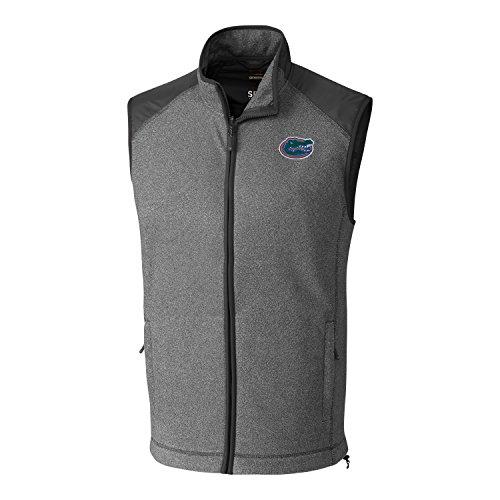 Cutter & Buck NCAA Florida Gators Adult Men Cedar Park Full Zip Vest, XX-Large, Charcoal Heather
