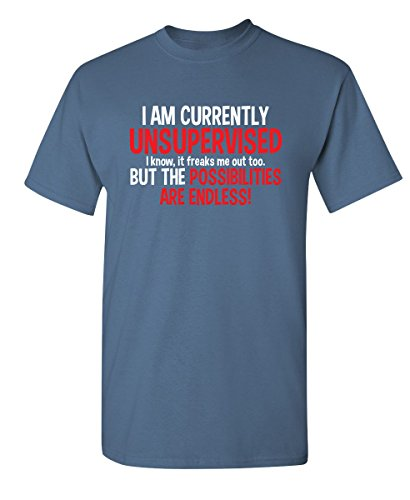 - I Am Currently Unsupervised Adult Humor Novelty Graphic Sarcasm Funny T Shirt XL Dusk