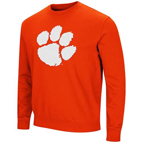 Colosseum NCAA Men's -Playbook- Crewneck Fleece Sweatshirt Tackle Twill Embroidered Lettering-Clemson Tigers-Orange-Large