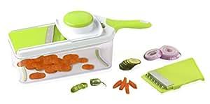 The The Sharper Image® Adjustable Mandolin Slicer & Storage Box - Stainless Steel Blades - Food Safe Plastic - Compact, Lightweight & Versatile - Healthy Meals