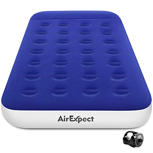 Air Mattress Camping AirBed Twin Size - AirExpect Leak Proof Inflatable Mattress with Rechargeable Electric Pump Built-in Pillow for Guest,Camping,Hiking,Height 9