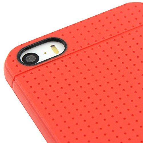 Mxnet Dots Pattern TPU Funda para iPhone 5 & 5s & SE & SE Fundas ( Color : Brown ) Red