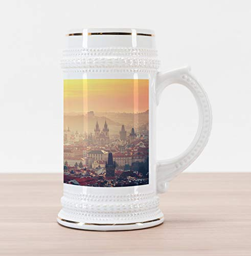 Lunarable European Beer Stein Mug, Sunrise in Prague Old Medieval Town Historical Monumental Nostalgic Boho Chic, Traditional Style Decorative Printed Ceramic Large Beer Mug Stein, Multicolor