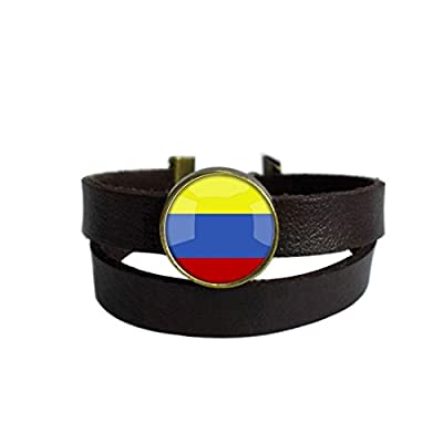 LooPoP Vintage Punk Dark Brown Leather Bracelet The Republic Of Colombia National Flag Belt Wrap Cuff Bangle Adjustable