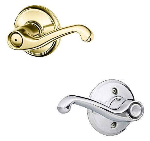 Schlage F40 Flair Right Hand Privacy Lock with 16080 Latch 10027 Strike Bright Brass By Bright Chrome Finish