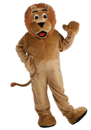 Forum Deluxe Plush Lion Mascot Costume, Tan, One Size]()