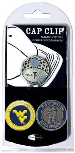 Team Golf NCAA West Virginia Mountaineers Golf Cap Clip with 2 Removable Double-Sided Enamel Magnetic Ball Markers, Attaches Easily to Hats