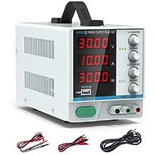 DC Bench Power Supply, 30V/10A Dr.meter Variable 4-Digital LED Display Power Supply, Multifuncitonal