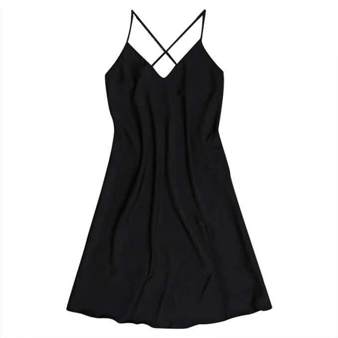 b10faa9e09403 SUSENSTONE Pajamas for Women Sexy Lingerie Solid Satin Sling Cross Halter  Nightdress Sleepwear Home Nightwear: Amazon.ca: Clothing & Accessories