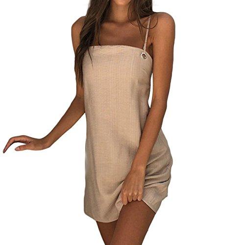 Ydncmgga Sling Back Strap Vestido de Color sólido Mujer Sexy Falda Corta (Color : Khaki, tamaño : XL)