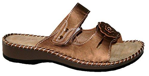 DY55 - Zapatos con correa de tobillo mujer bronze velcro