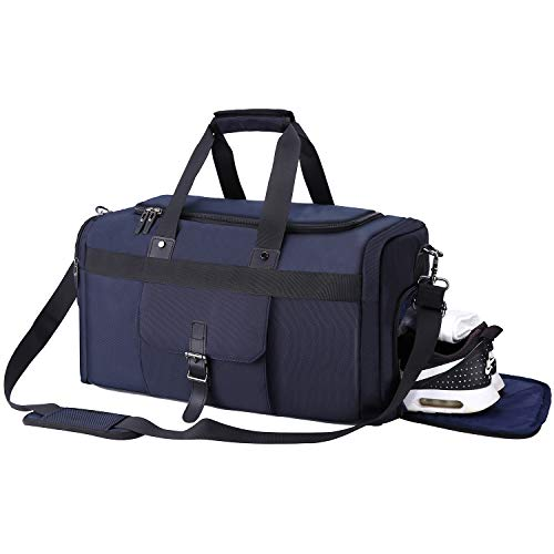 Waterproof Gym Bag Large Sports Travel Duffel Bag,Weekender Overnight Bag for Men and Women with Shoes Compartment 40L - Dark Blue