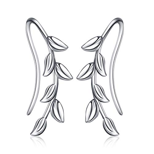 POPLYKE Ear Climber Crawler Cuff Sterling Silver Leaf Earrings for Women Girls,Wrap Earrings Hypoallergenic (Leaf Earrings) (Leaf Silver Cuff)