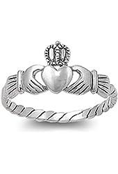 VE-01021 Sterling Silver Irish Friendship & Love Claddgh Band Ring