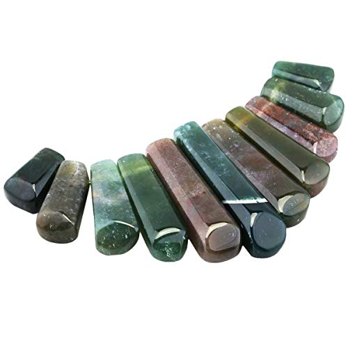 Nupuyai Polished Stone Loose Beads for Jewelry Making, Top Drilled Gradutated Sticks Pendant Beads Set