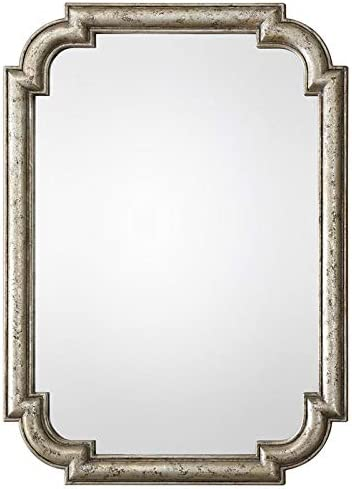 Uttermost Traditional Wall Mirror in Antique Silver