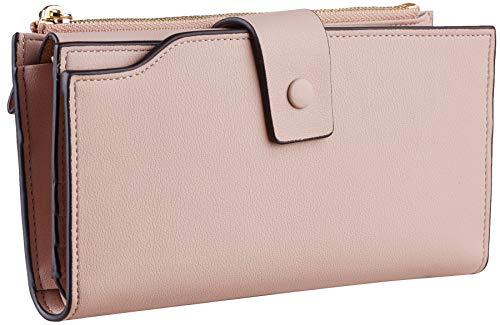 Travelambo Womens RFID Blocking Large Capacity Luxury Waxed Genuine Leather Clutch Wallet Multi Card Organizer 5