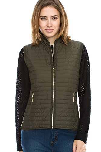 Daisy Fashion women casual quilted padding side rib detail zipped jacket vest. Comfy gorgeous fit. Gold zipper. (J601) (Medium, Olive) by JEZEEL