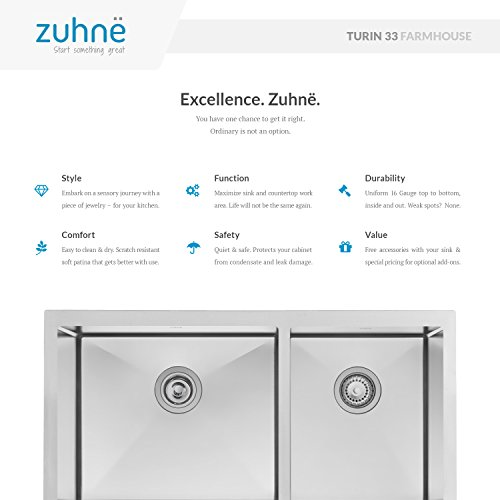 Zuhne 33 Inch Farmhouse Apron 60/40 Deep Double Bowl 16 Gauge Stainless Steel Luxury Kitchen Sink by Zuhne (Image #2)