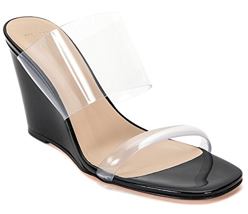 Maryam Nassir Zadeh Women's Olympia Wedge Patent Slide Sandals (EU 37/US 6.5, Black) by Maryam Nassir Zadeh