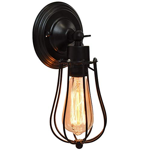 Tangkula Wall Sconce 2-Light Design Wall Light Fixture Industrial Vintage Rustic Retro Style Indoor Outdoor Wall Lamp Bar Loft Wire Cage with Bulbs (Black-1 Light)