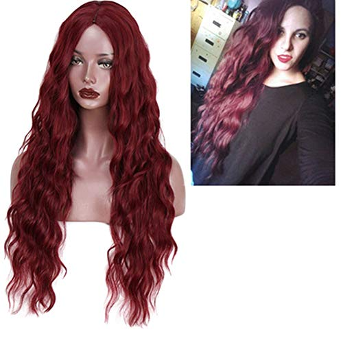 Wig Wavy Long Curly Hair Synthetic Women Natural Fluffy Heat Resistant Curls Ladies Cosplay Halloween Party, 65cm (Color : Wine red) ()