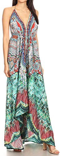 Sakkas 1817 - Lizi Womens Maxi High-Low Halter Handkerchief Long Dress Beach Party - FOM223-Multi - OS