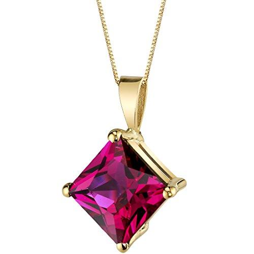 - 14 Karat Yellow Gold Princess Cut 3.00 Carats Created Ruby Pendant