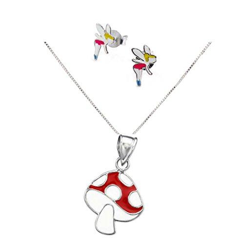 SL de Silver Set Cadena infantil pendientes colgante y marfil Seta 925plata en caja de regalo