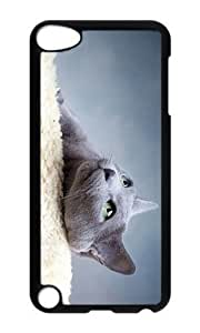 Ipod 5 Case,MOKSHOP Cool lovely grey cat Hard Case Protective Shell Cell Phone Cover For Ipod 5 - PC Black