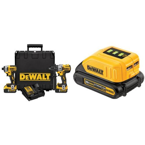 DEWALT DCK299P2 20V MAX XR Lithium Ion Brushless Premium Hammerdrill & Impact Driver Combo Kit, 5.0 Ah with USB Power Source
