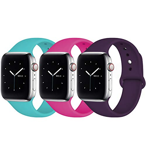 Fuleda Compatible with Apple Watch Band 40mm 38mm for Women, iWatch Band 40mm 38mm, 3 Pack, Teal/Rose Pink/Plum, S/M