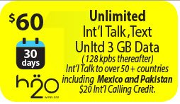 H2o WIRELESS REFILL FOR THE MONTHLY UNLIMITED PLAN $60