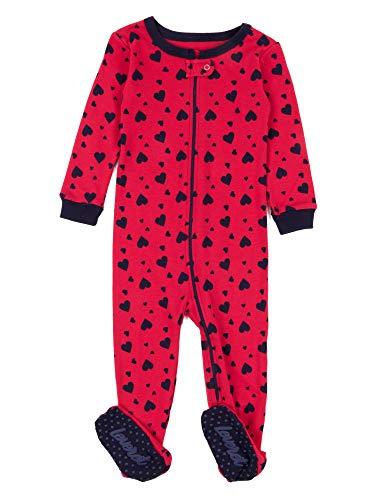 Leveret Kids Pajamas Baby Boys Girls Footed Pajamas Sleeper 100% Cotton (Navy Hearts, Size 4 Toddler)