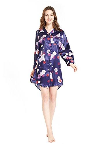 Satin Sleepshirt (lantisan Silky Satin Long Sleeve Sleepshirt For Women, Boyfriend Button-Down Nightshirt With Mask, Rose On Purple M)